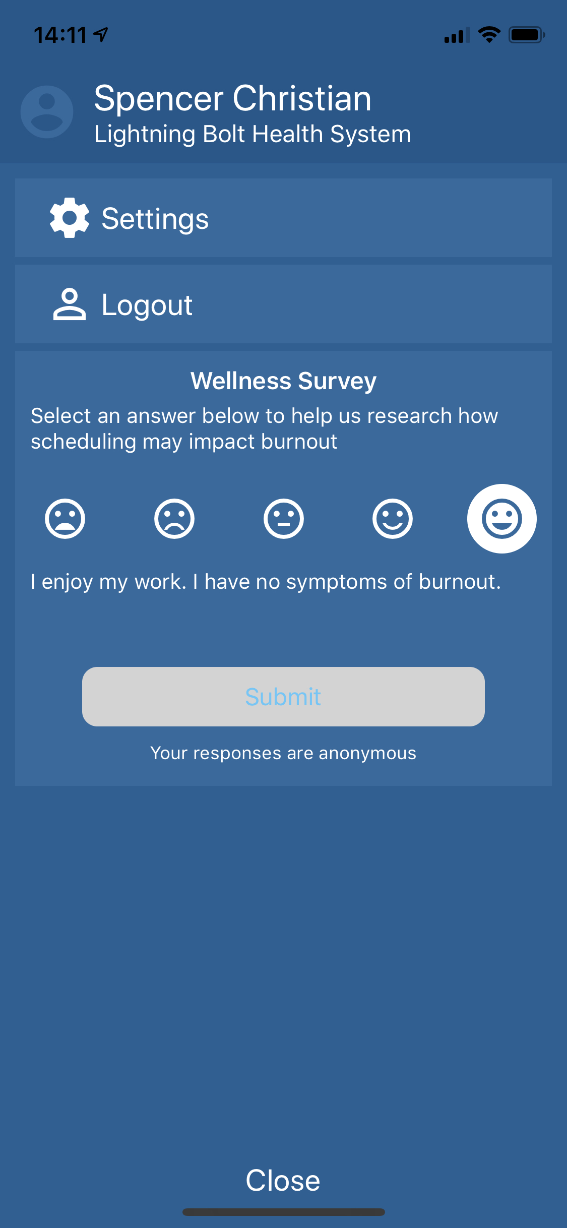 Picture of the wellness survey that physicians can complete as part of the Pathology of Burnout Initiative.