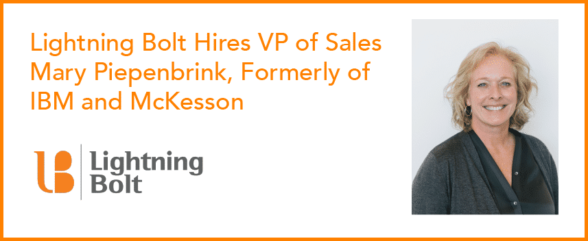 Picture of Lightning Bolt's new VP of Sales Mary Piepenbrink, formerly of IBM and McKesson.