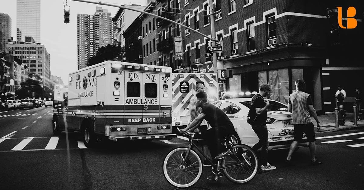 Photo of Ambulance Driving Through New York City