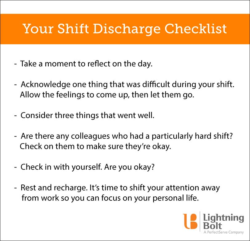 Our shift discharge checklist for physician wellness. Here are the six steps for grounding yourself and checking in after a long day: • Take a moment to reflect on the day. • Acknowledge one thing that was difficult during your shift. Allow the feelings to come up, then let them go. • Consider three things that went well. • Are there any colleagues who had a particularly hard shift? Check on them to make sure they're okay, too. • Rest and recharge—it's time to shift your attention away from work so you can focus on your personal life.